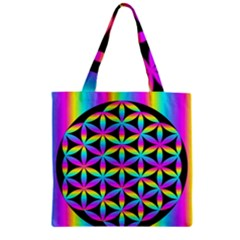 Flower Of Life Gradient Fill Black Circle Plain Zipper Grocery Tote Bag by Simbadda