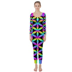 Flower Of Life Gradient Fill Black Circle Plain Long Sleeve Catsuit by Simbadda