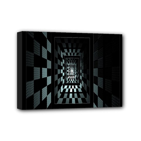 Optical Illusion Square Abstract Geometry Mini Canvas 7  x 5  by Simbadda