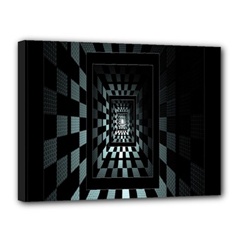 Optical Illusion Square Abstract Geometry Canvas 16  X 12