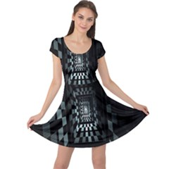 Optical Illusion Square Abstract Geometry Cap Sleeve Dresses