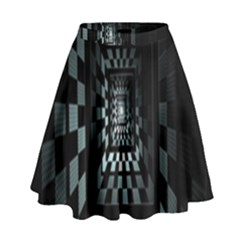 Optical Illusion Square Abstract Geometry High Waist Skirt by Simbadda
