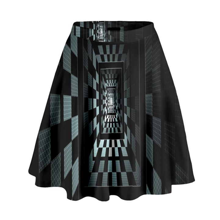 Optical Illusion Square Abstract Geometry High Waist Skirt