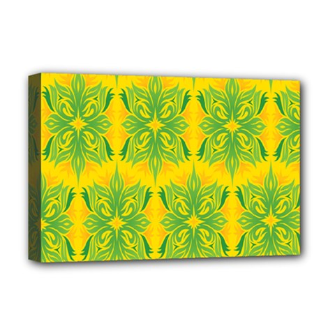 Floral Flower Star Sunflower Green Yellow Deluxe Canvas 18  X 12