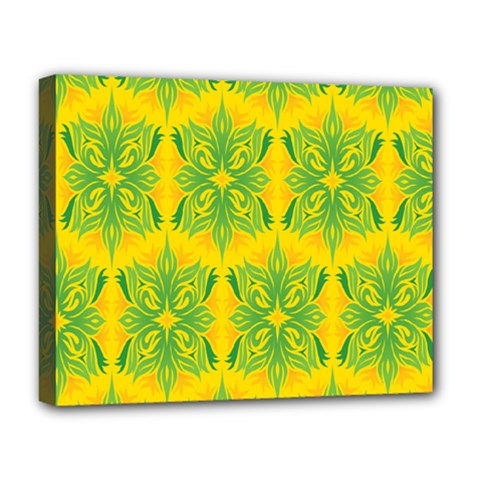 Floral Flower Star Sunflower Green Yellow Deluxe Canvas 20  X 16   by Alisyart
