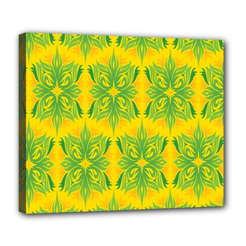 Floral Flower Star Sunflower Green Yellow Deluxe Canvas 24  X 20   by Alisyart