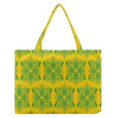 Floral Flower Star Sunflower Green Yellow Medium Zipper Tote Bag by Alisyart