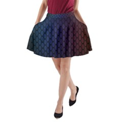 Hexagon Colorful Pattern Gradient Honeycombs A Line Pocket Skirt by Simbadda