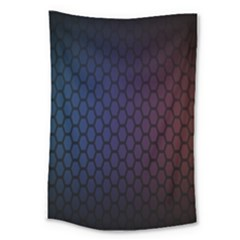Hexagon Colorful Pattern Gradient Honeycombs Large Tapestry by Simbadda