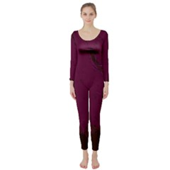 Abstract Purple Pattern Long Sleeve Catsuit