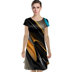Abstract 3d Cap Sleeve Nightdress