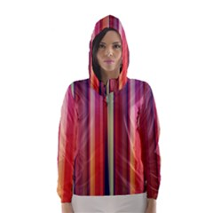 Texture Lines Vertical Lines Hooded Wind Breaker (women) by Simbadda
