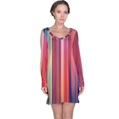 Texture Lines Vertical Lines Long Sleeve Nightdress