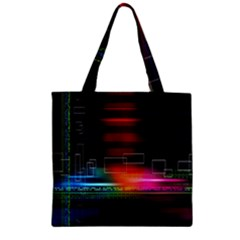Abstract Binary Zipper Grocery Tote Bag by Simbadda