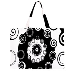 Fluctuation Hole Black White Circle Zipper Large Tote Bag by Alisyart