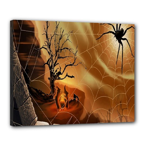 Digital Art Nature Spider Witch Spiderwebs Bricks Window Trees Fire Boiler Cliff Rock Canvas 20  X 16  by Simbadda