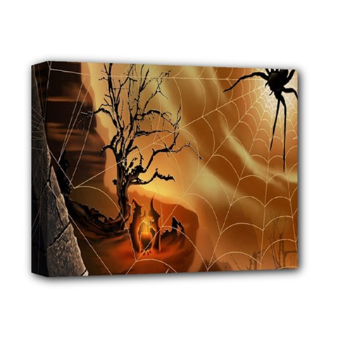 Digital Art Nature Spider Witch Spiderwebs Bricks Window Trees Fire Boiler Cliff Rock Deluxe Canvas 14  X 11  by Simbadda