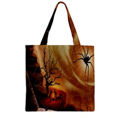 Digital Art Nature Spider Witch Spiderwebs Bricks Window Trees Fire Boiler Cliff Rock Zipper Grocery Tote Bag by Simbadda