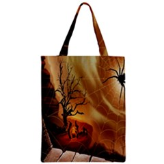 Digital Art Nature Spider Witch Spiderwebs Bricks Window Trees Fire Boiler Cliff Rock Zipper Classic Tote Bag by Simbadda
