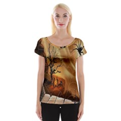 Digital Art Nature Spider Witch Spiderwebs Bricks Window Trees Fire Boiler Cliff Rock Women s Cap Sleeve Top by Simbadda