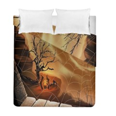 Digital Art Nature Spider Witch Spiderwebs Bricks Window Trees Fire Boiler Cliff Rock Duvet Cover Double Side (full/ Double Size) by Simbadda
