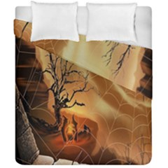 Digital Art Nature Spider Witch Spiderwebs Bricks Window Trees Fire Boiler Cliff Rock Duvet Cover Double Side (california King Size) by Simbadda