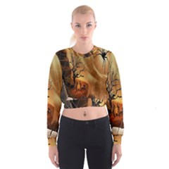 Digital Art Nature Spider Witch Spiderwebs Bricks Window Trees Fire Boiler Cliff Rock Women s Cropped Sweatshirt
