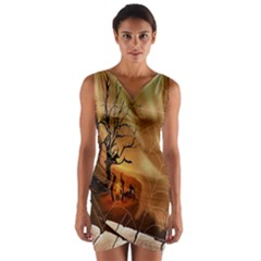 Digital Art Nature Spider Witch Spiderwebs Bricks Window Trees Fire Boiler Cliff Rock Wrap Front Bodycon Dress by Simbadda