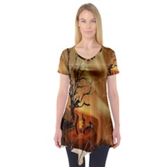 Digital Art Nature Spider Witch Spiderwebs Bricks Window Trees Fire Boiler Cliff Rock Short Sleeve Tunic  by Simbadda