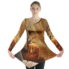 Digital Art Nature Spider Witch Spiderwebs Bricks Window Trees Fire Boiler Cliff Rock Long Sleeve Tunic  by Simbadda