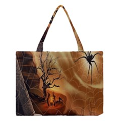 Digital Art Nature Spider Witch Spiderwebs Bricks Window Trees Fire Boiler Cliff Rock Medium Tote Bag by Simbadda
