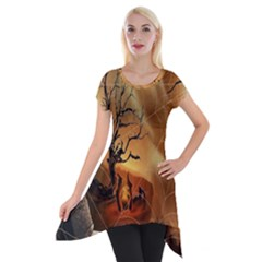 Digital Art Nature Spider Witch Spiderwebs Bricks Window Trees Fire Boiler Cliff Rock Short Sleeve Side Drop Tunic by Simbadda