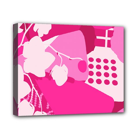 Flower Floral Leaf Circle Pink White Canvas 10  X 8  by Alisyart