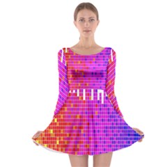 Square Spectrum Abstract Long Sleeve Skater Dress