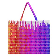 Square Spectrum Abstract Zipper Large Tote Bag by Simbadda