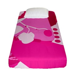 Flower Floral Leaf Circle Pink White Fitted Sheet (single Size) by Alisyart