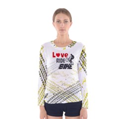 Love Ride Bike Fitness Women s Long Sleeve Tee by PattyVilleDesigns