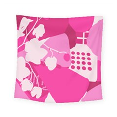 Flower Floral Leaf Circle Pink White Square Tapestry (small) by Alisyart