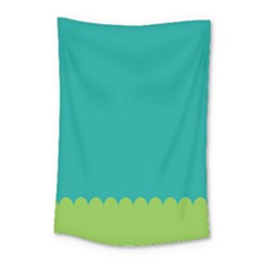Green Blue Teal Scallop Wallpaper Wave Small Tapestry by Alisyart