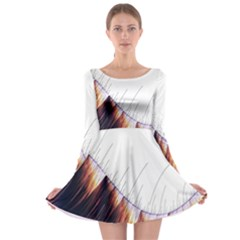 Abstract Lines Long Sleeve Skater Dress