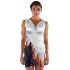 Abstract Lines Wrap Front Bodycon Dress by Simbadda