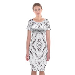 Pattern Monochrome Terrazzo Classic Short Sleeve Midi Dress by Simbadda