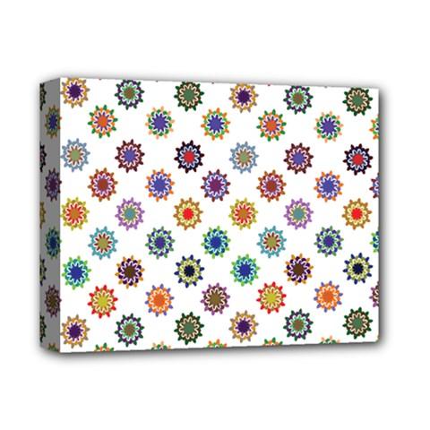 Flowers Color Artwork Vintage Modern Star Lotus Sunflower Floral Rainbow Deluxe Canvas 14  X 11  by Alisyart