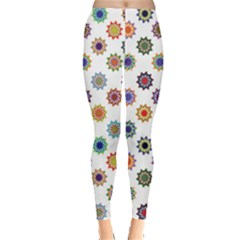 Flowers Color Artwork Vintage Modern Star Lotus Sunflower Floral Rainbow Leggings  by Alisyart