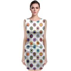 Flowers Color Artwork Vintage Modern Star Lotus Sunflower Floral Rainbow Classic Sleeveless Midi Dress by Alisyart