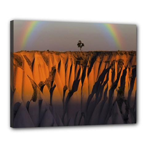 Rainbows Landscape Nature Canvas 20  X 16  by Simbadda