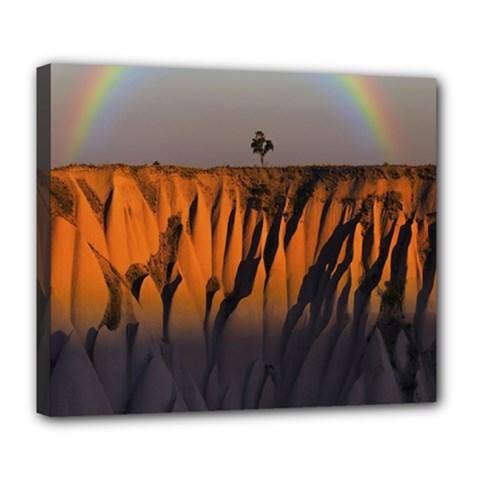 Rainbows Landscape Nature Deluxe Canvas 24  X 20   by Simbadda