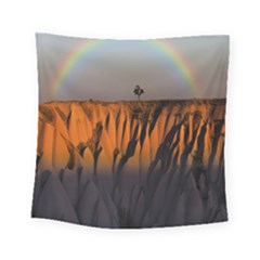 Rainbows Landscape Nature Square Tapestry (small) by Simbadda