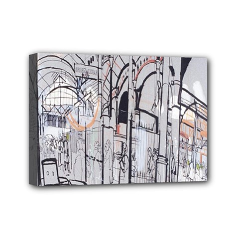 Cityscapes England London Europe United Kingdom Artwork Drawings Traditional Art Mini Canvas 7  x 5  by Simbadda