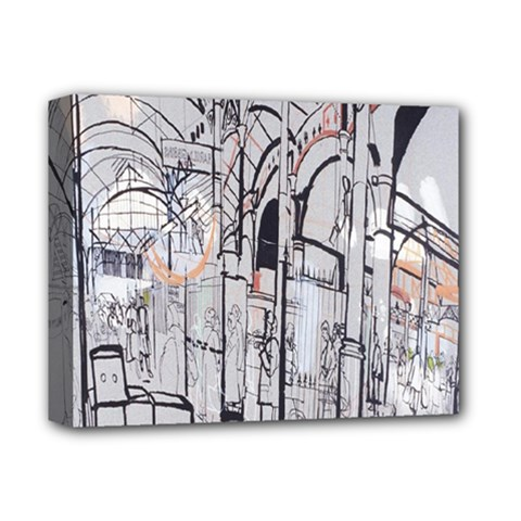 Cityscapes England London Europe United Kingdom Artwork Drawings Traditional Art Deluxe Canvas 14  X 11  by Simbadda